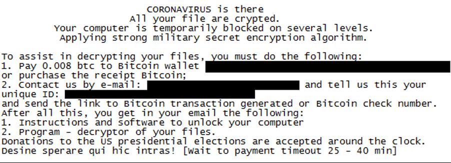 Coronavirus (COVID-19) themed ransom note from threat actor