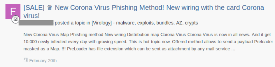 Advertisement on the Dark Web for Phishing Scams