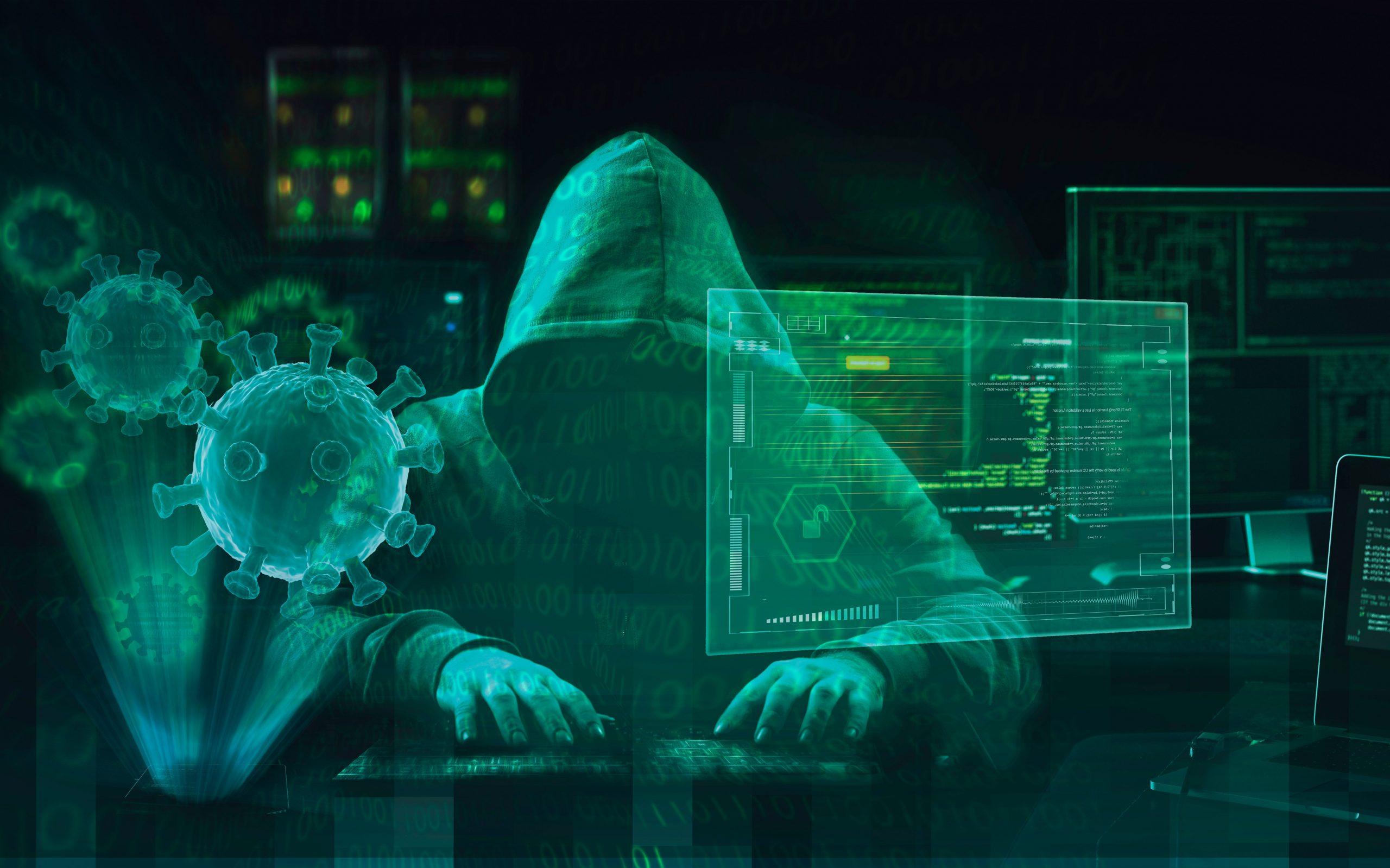 Hacker,virus,malware,attack,during,coronavirus,pandemic,concept