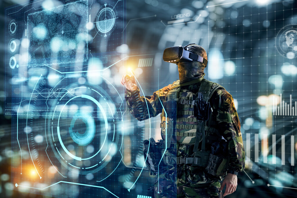 Soldier in virtual reality glasses as part of cybersecurity efforts to protect DIB