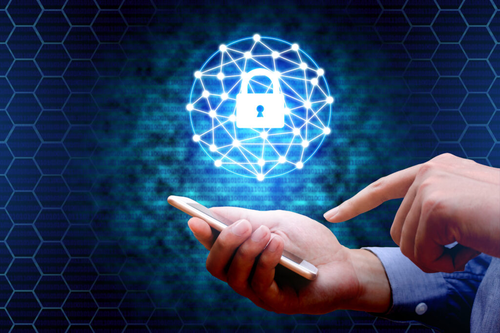 Cyber,security,concept.,businessman,using,smartphone,with,lock,network,icon.
